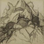 Sketch to the project  Cimmerian shores. Paper. Pencil.  Size: 61x61. Year: 1997.