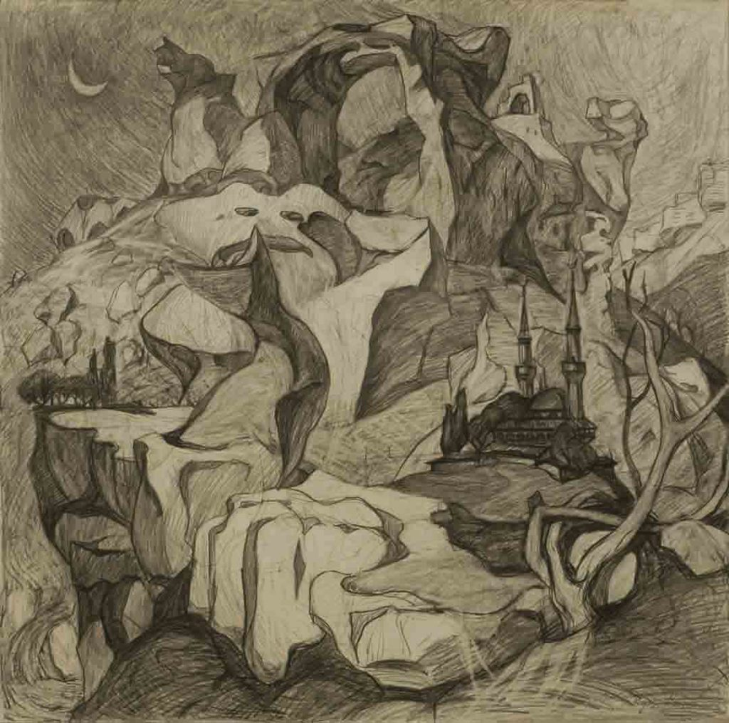 Sketch to the project  Cimmerian shores. Paper. Retouch.  Size: 61x61. Year: 1997.