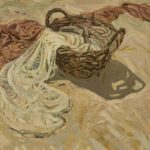 Basket with nets. Cardboard, oil.  Size: 90х80. Year: 1989