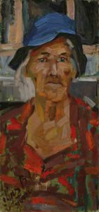 My grandmother. Canvas, oil. Size: 50,5x24. Year: 1986.