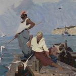 Fishermen, canvas, oil. Size: 100x120. Year: 2005.
