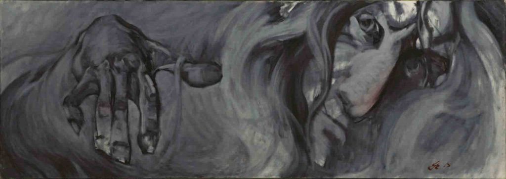 Quiet madness. Canvas, oil. Size: 70x200. Year: 1997.