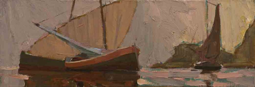 Evening longboats. Canvas, oil.  Size: 28х80. Year: 2005