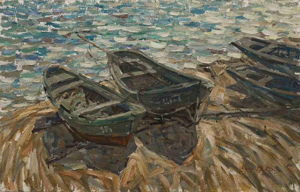 At the sea, cardboard, oil. Size: 51x79,5. Year: 1989.