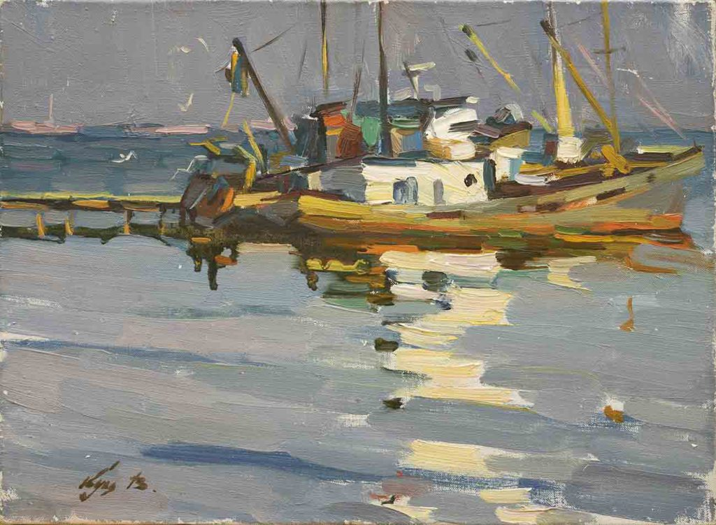 Evening, canvas, oil. Size: 25x34. Year: 1987.